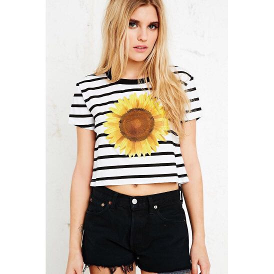 8503233798a75 BN Urban Outfitters UO Truly Madly Deeply Sunflower Crop Tee ...