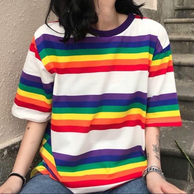 07feb706421246 BNWT ulzzang rainbow striped oversized basic tee shirt t top korean ...