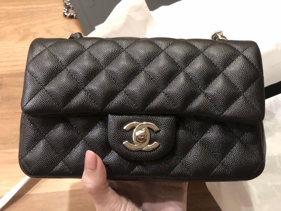 a8c1531cf591 Chanel rectangular mini black caviar lghw
