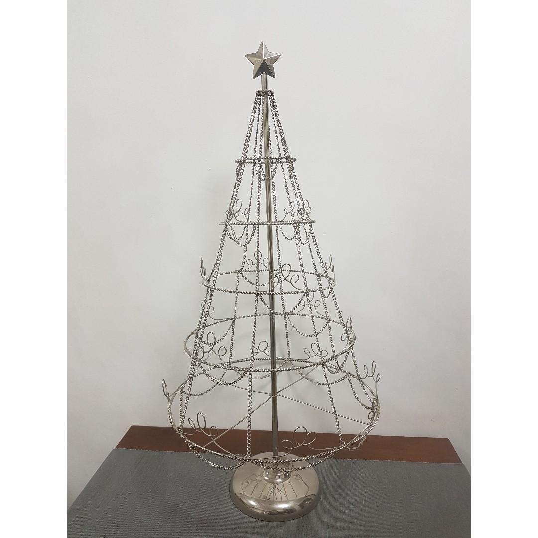 Collapsible Christmas Tree.Christmas Tree Silver Colour Chain Collapsible Furniture