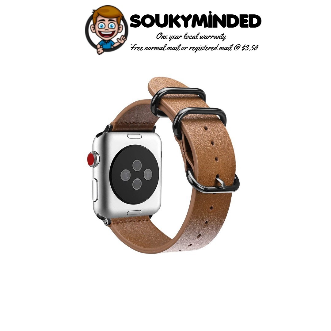 fb1d230824d0 IN-STOCK] Apple Watch 44mm 42mm, Genuine Leather Replacement Strap ...