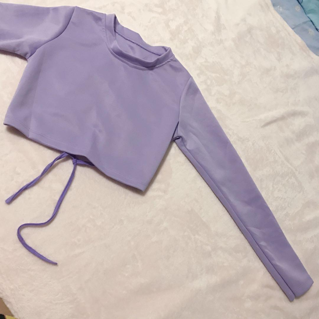 Lolita Ulzzang Streetwear Harajuku Pastel Lilac Purple Long Sleeve Laced Up Top Pullover