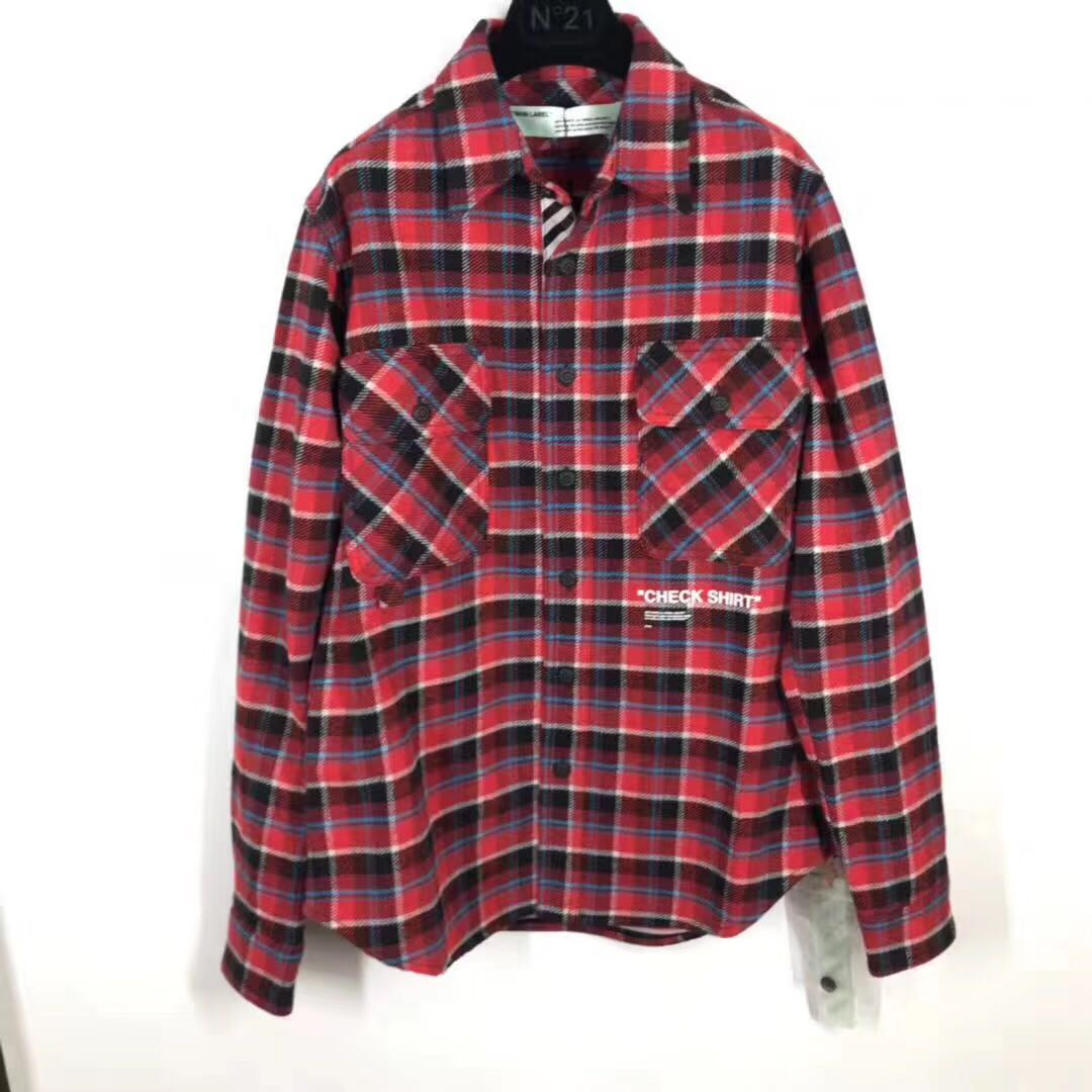 b8dd362a64e7 Off White Quote Red Checked Flannel Shirt