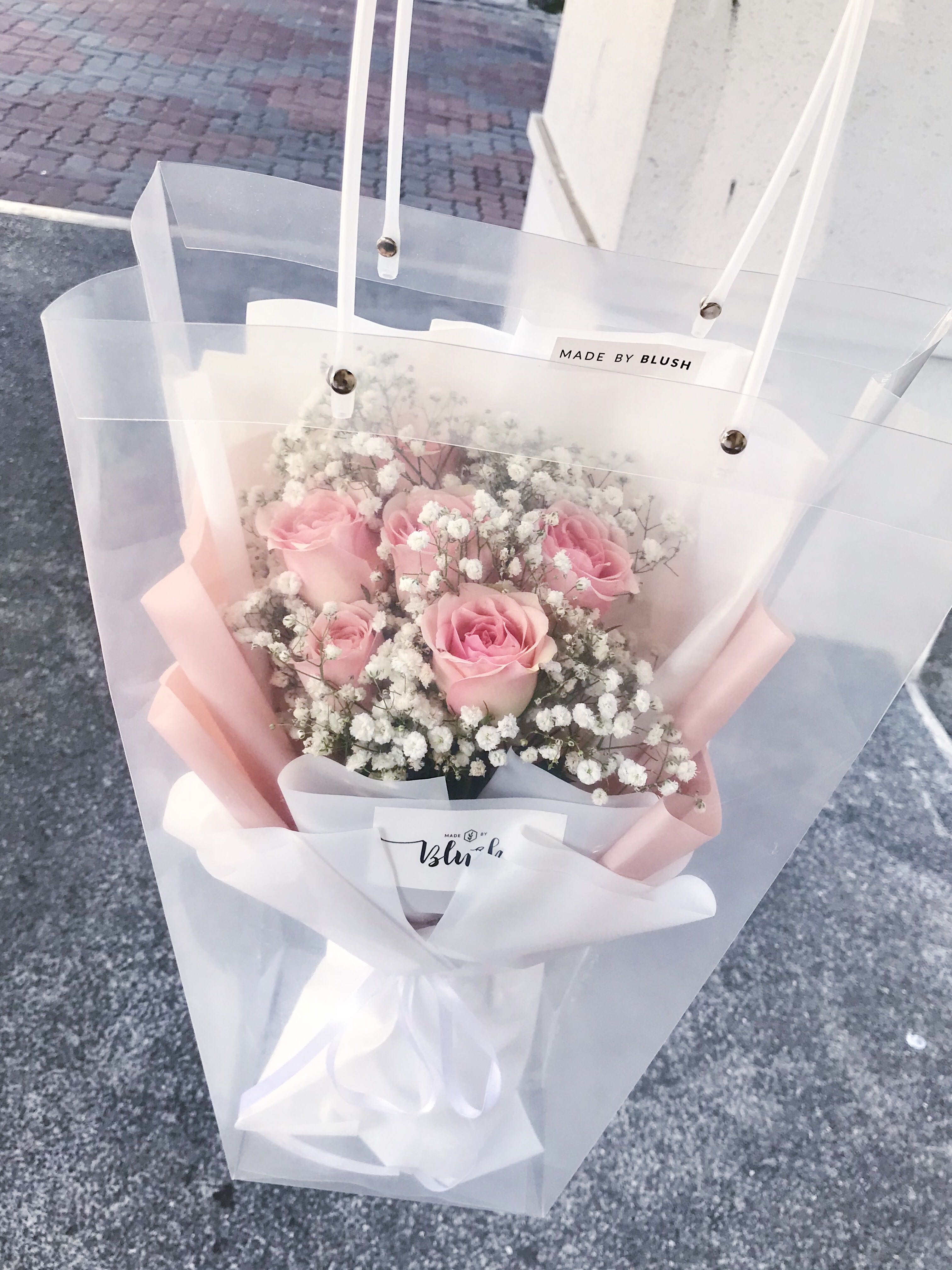 Pink Rose Bouquet In White Wrapper Gardening Flowers Bouquets On Carousell