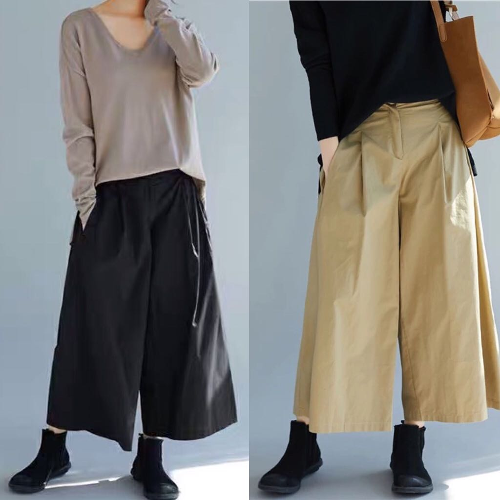 3940dc4f27cf6 Plus Size High waist solid color retro loose wide leg pants fashion ...