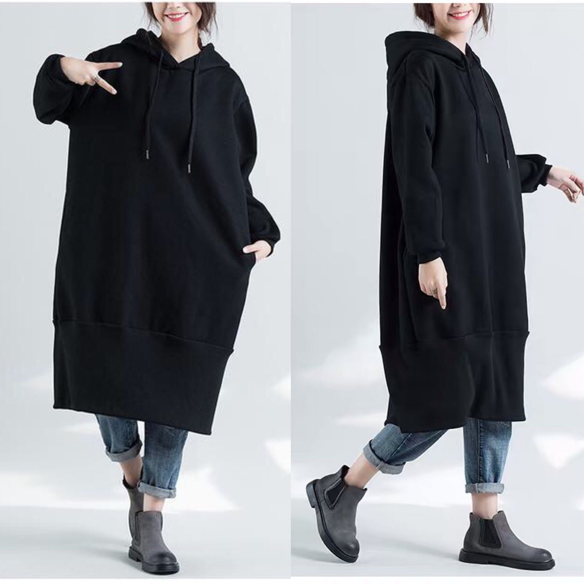 a3ec4f97197 Plus Size plus velvet padded mid-length hooded sweater casual dress ...