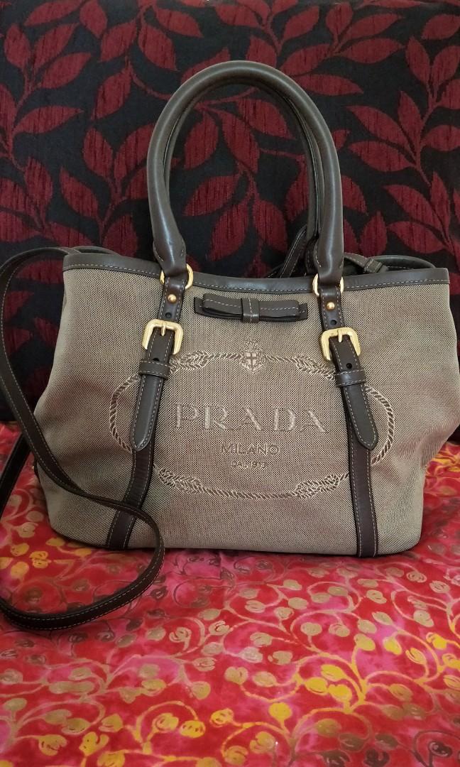 9b61e2c7f728 PRADA LOGO JACQUARD two-way bag, Luxury, Bags & Wallets, Handbags on ...