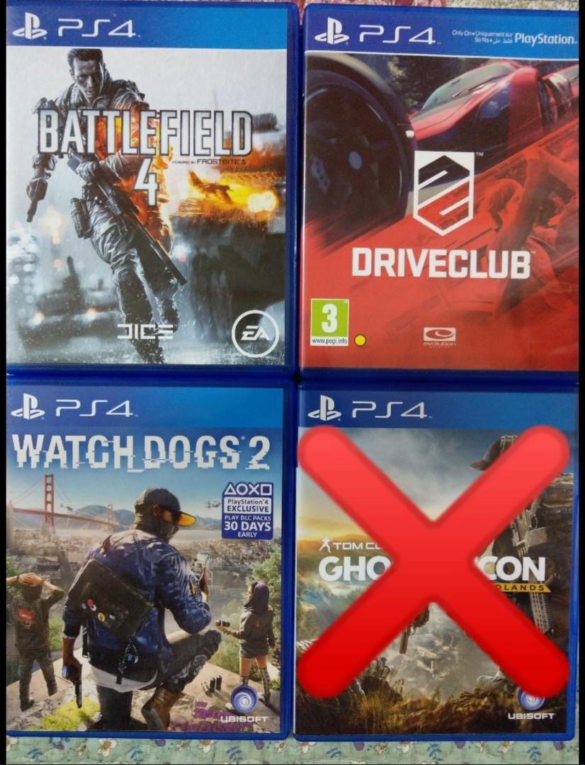 PS4 Battlefield 4 / Driveclub / Watch Dogs2