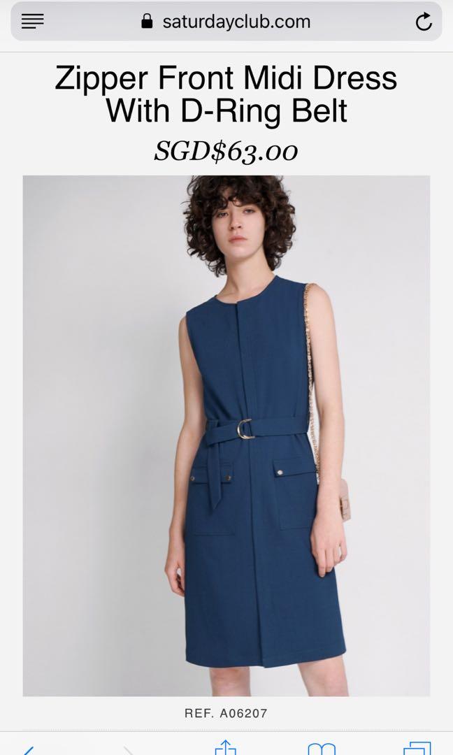 Sat Club Zipped front midi dress with belt, Women's Fashion