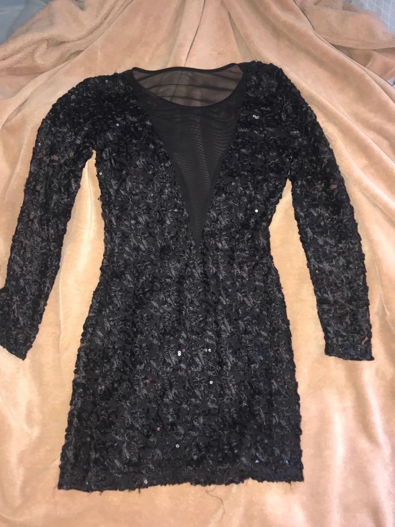 Stunning black sequin designer New Years dress