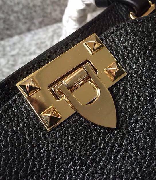 e3b6d3bc6454 Valentino Garavani Black Rock Studded Leather Bag