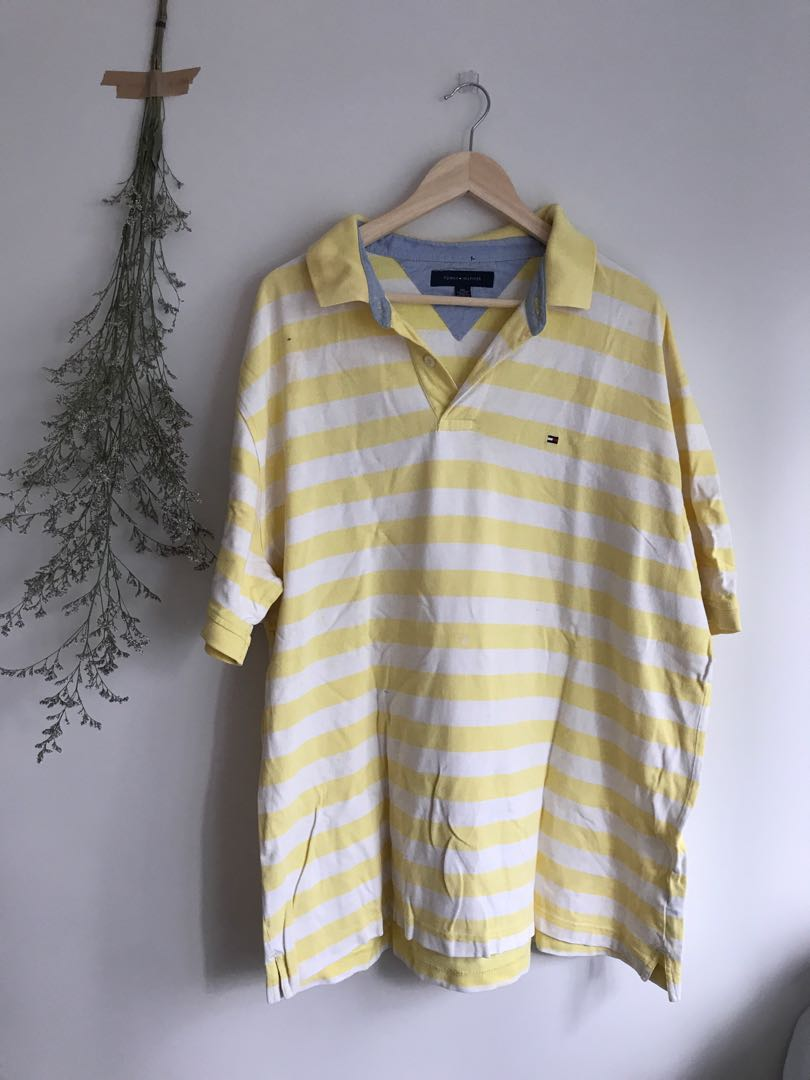 cb083e60 Yellow and white striped tommy hilfiger polo shirt, Men's Fashion, Clothes,  Tops on Carousell