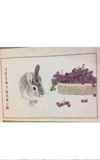 Chinese Painting 中國画!工笔画兔子與葡萄!