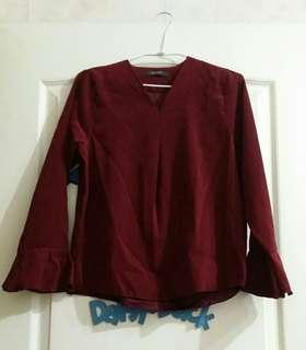 全新 韓國製 喇叭袖暗紅襯衫