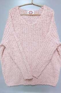 ◈KoreaV領寬鬆落肩編織毛衣