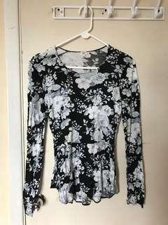 Floral Aritzia Wilfred Long Sleeve Top