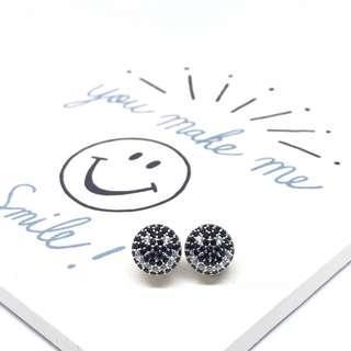 925純銀哈哈笑😀笑哈哈😄黑白色鋯石耳環