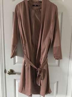 Rose pink duster coat with belt tie