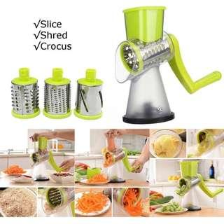 Slicer Manual Hand Speedy Rotary Drum Grater Vegetables Fruit Cutter with 3 Round Stainless Steel Blades