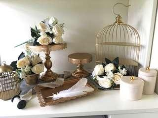 Gold Cake Stands/ Tray/ Feather Pens/ Pot/ Table Runner for Wedding Candy Corner Candy Bar Reception/LED Candles