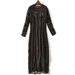 🚚 蕾絲洋裝。蕾絲長洋裝。氣質洋裝。飯局。跑趴。婚宴。