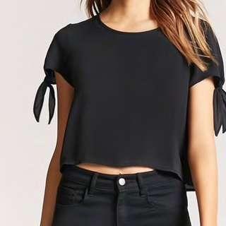 🚚 F21 black tie-sleeve top