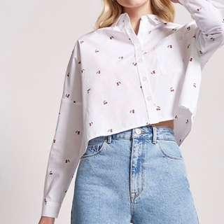 🚚 F21 cherry print shirt