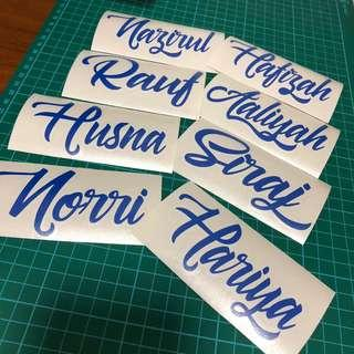 Customised name decal for water bottles/mugs/laptop/wall/mirror/glass doors etc