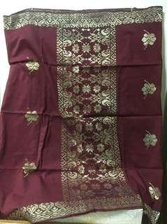 Stunning Heirloom Burgundy with Gold Embroidery Songket from Terengganu 1950s