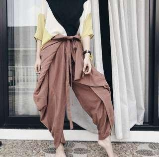 New! Wrap Pants Tied Brown