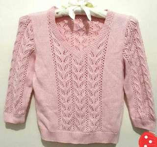 Baby pink cable knit sweater