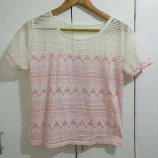 White lace and pink cotton top blouse