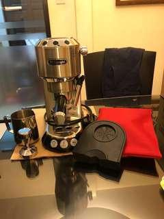 Delonghi Dedica Expresso Machine EC680.M complete with Manual Book (FOC Metal Milk Jug + Stainless Steel Coffee Tamper + Silicon Tamper Mat + Pouch) - comes with box
