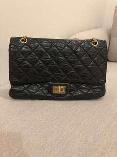 Authentic Chanel black 2.55 reissue large flap bag GHW