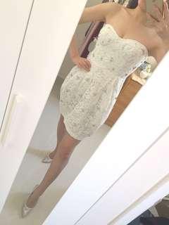 Georgina Chapman desinger sexy crystal lace white tube party dress size s 性感水晶蕾絲白色抹胸禮服短裙