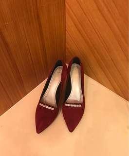 VIVENTY 39號栗色人工排鑽8公分細高跟鞋