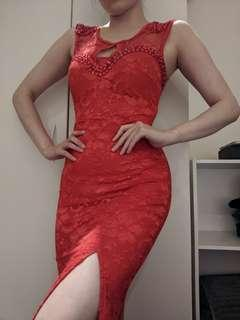 Sexy red lace long dress gown for ball, prom, or dress up party