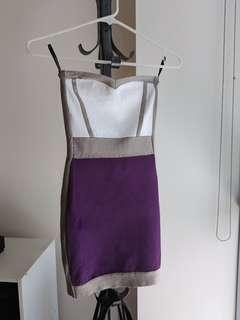 BEBE colour block mini bodycon dress strapless cocktail dress