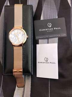 Christian Paul rose gold marble watch