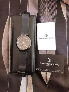 Christian Paul black marble watch