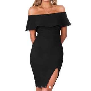 Black Overlap Off Shoulder Slit Dress