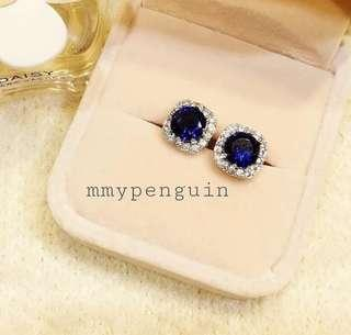 925 Silver Blue Crystal Earring With Gift Box