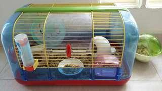 Hamster cage and complete care set