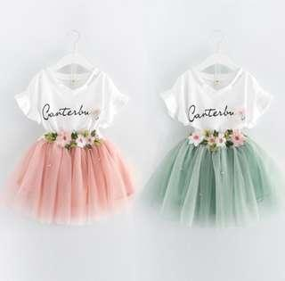 🌟PM for price🌟 🍀Girl Casual Short Butterfly Sleeves Top+Floral Voile Skirt 2pcs Sets🍀