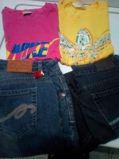 Bundle jeans..nike and adidas tshirt