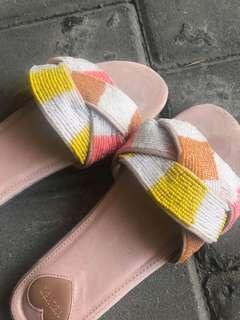 Woman Velvet beaded sandal size 39