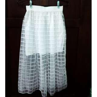 White skirt with tulle overlay