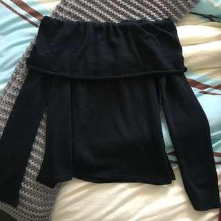 PLT off shoulder black knit