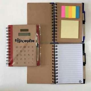 Personalized Calculator Journal with sticky notes