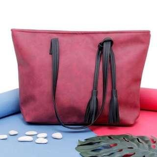 Leather Maroon Handbag